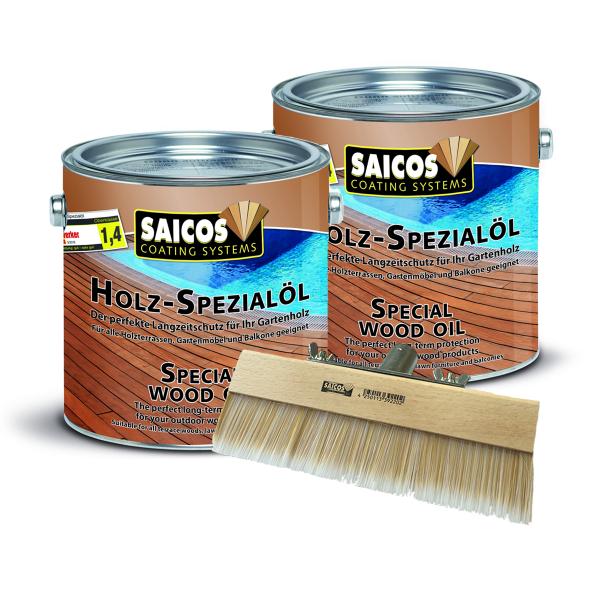 Sonderangebot 2 x Saicos Holz-Spezialöl 2,5l inkl. Fußbodenstreichbürste 150mm